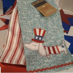 Williamstown Home Patriotic Dachshund Dish Towels